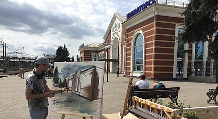 Art-Residence «Diffusions» Started Work in the Donetsk Region — European Artists Paint Train Station in Front-Line City
